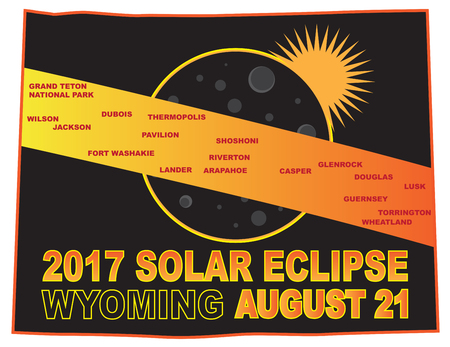 2017 Solar Eclipse Totality across Wyoming State cities map color illustration Illusztráció