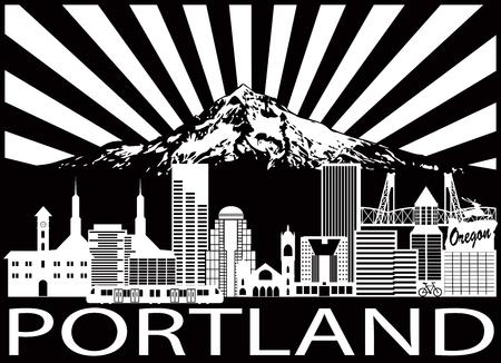 Het Overzichtssilhouet van Portland Oregon met Stadshorizon met Onderstel Hood Sun Rays Black Isolated op Witte Illustratie als achtergrond Stock Illustratie