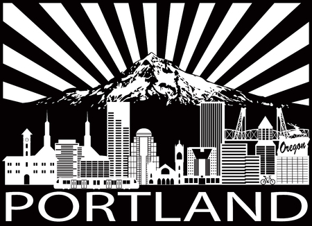 Portland Oregon Outline Silhouette with City Skyline with Mount Hood Sun Rays Black Isolated on White Background Illustration