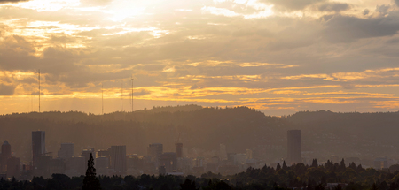 Hazy Smog afternoon over city of Portland Oregon downtown skyline panorama