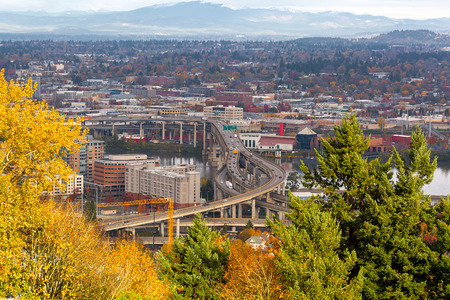 Marquam Bridge over Willamette River in Portland Oregon during fall season