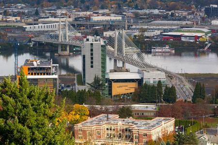 eastbank: Tilikum Crossing Bridge of the People over Willamette River in Portland Oregon
