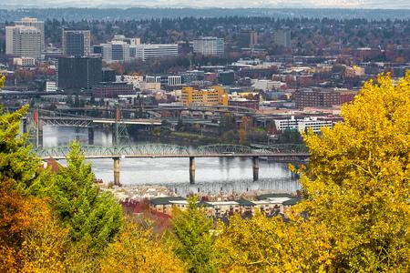 eastbank: Hawthorne Bridge over Willamette River in downtown Portland Oregon in Fall Season