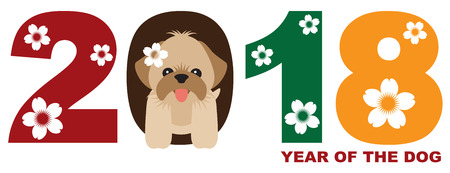 2018 Chinese Lunar New Year of the Dog Numeral with Shih Tzu Puppy Color Illustration Illusztráció
