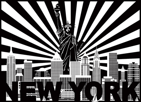 New York City Skyline with Statue of Liberty sun rays and text Black and White Outline Illustration