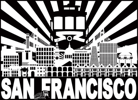 San Francisco California City Skyline with Trolley Sun Rays Golden Gate Bridge Black and White Text Illustration Ilustração