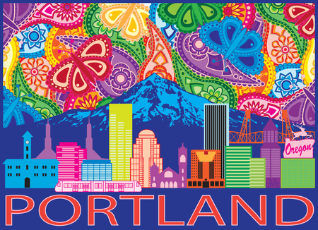 Portland Oregon Outline Silhouette with City Skyline with Mount Hood Colorful Paisley Pattern Background Illustration