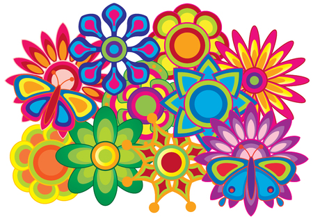 Flowers and butterflies bright colorful colors abstract illustration