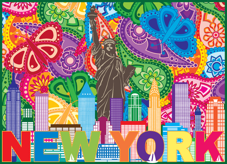 New York City Skyline with Statue of Liberty sun rays and text Paisley Pattern Color Outline Illustration