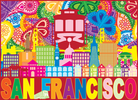 San Francisco California City Skyline with Trolley Sun Rays Golden Gate Bridge Text Paisley Pattern Color Illustration