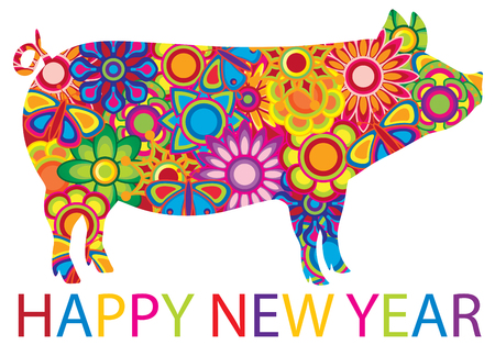 Chinese Lunar New Year 2019 Pig with spring flowers floral pattern and text isolated on white background illustration Ilustracja