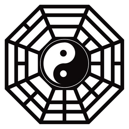 Bagua Trigram Yin Yang eight symbolsTaoist cosmology Chinese principles black and white illustration Illustration