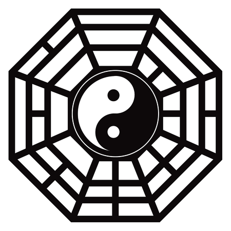 Bagua Trigram Yin Yang eight symbolsTaoist cosmology Chinese principles black and white illustration Illustration
