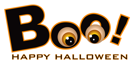 Happy Halloween Boo text with funny eye balls color isolated on white background illustration