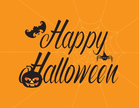 Happy Halloween text greeting card with bat pumpkin jack-o-lantern spider web black on orange background illustration