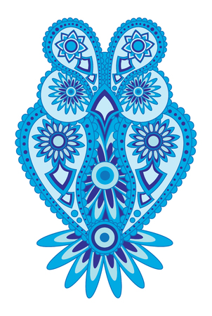 Paisley floral pattern abstract owl blue tone color illustration Illustration