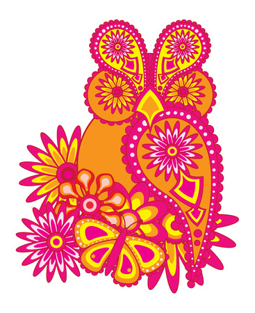 Paisley floral pattern abstract owl flowers and butterfly color illustration Illustration