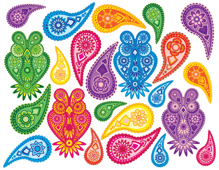 Flowers and Owls traditional paisley design pattern background isolated on white background illustration