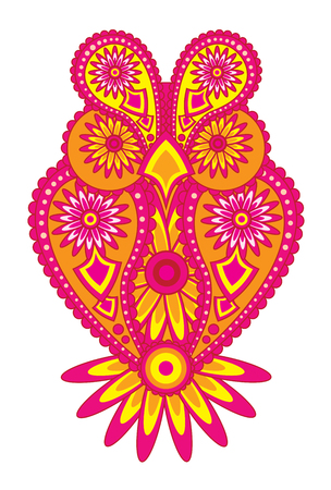 Paisley floral pattern abstract owl color illustration Illustration