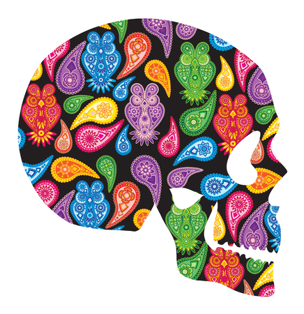 Human skull head silhouette with paisley floral owl colorful pattern illustration