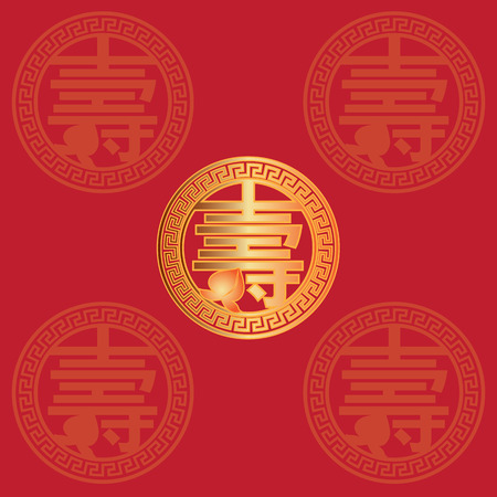 Longevity Chinese gold text symbol with peach fruit red background greeting card illustration