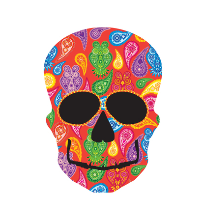 Human skull head silhouette with paisley floral owl colorful pattern front profile illustration Illustration