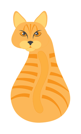 Orange Tabby Cat sitting looking back color illustration Illustration