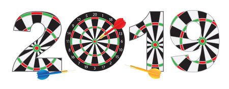 2019 Happy New Year Dartboard with Darts on Hitting Target Bullseye Numerals Outline Illustration Isolated on White Background