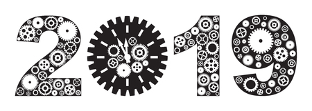 Happy New Year 2019 with Mechanical Gears and Clock Black and White Illustration