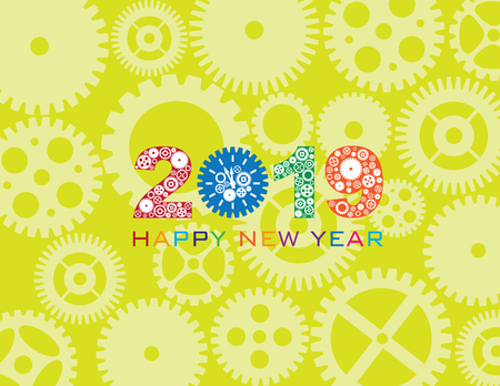 Happy New Year 2019 with Mechanical Gears and Clock Pattern Green Background Illustration
