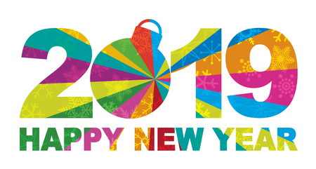 2019 Happy New Year Numbers and Text Silhouette Ornament with Snowflakes Texture Pattern Background Illustration