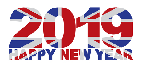 2019 Happy New Year Great Britain Union Jack Flag Numbers Outline Isolated on White Background Illustration
