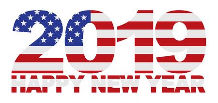 2019 USA American Flag Numbers Outline Isolated on White Background Illustration Ilustracja