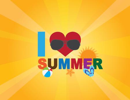 I Love Summer text with heart beach ball starfish flip flop beach scene on Sun Rays Background Illustration Ilustracja