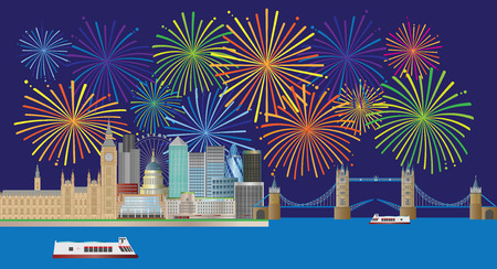 London England Skyline Panorama with Tower Bridge and Westminster Palace and Fireworks  display color Illustration