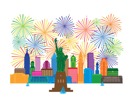 New York City Skyline with Statue of Liberty and fireworks color Illustration 일러스트