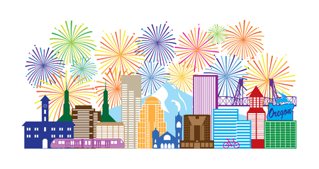 Portland Oregon Outline Silhouette with City Skyline Downtown Panorama and Fireworks Isolated on White Background Illustration