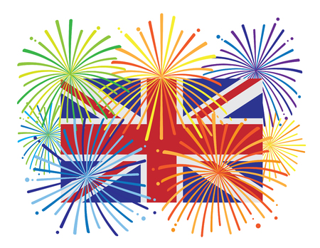Great Britain England Jack Union Flag with Fireworks Color Illustration