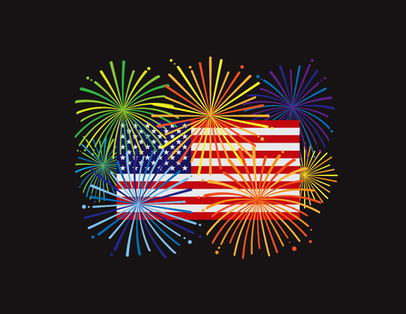 Fireworks display over USA American Flag for New Year or 4th July Independence Day celebration color on black background illustration
