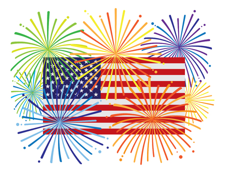 Fireworks display over USA American Flag for New Year or 4th July Independence Day celebration color illustration Illustration