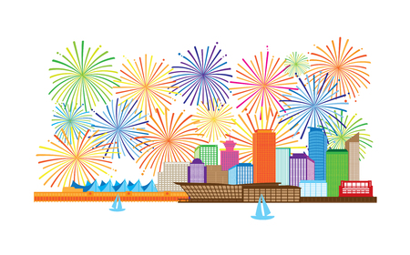 Vancouver British Columbia Canada City Skyline and fireworks display color Illustration