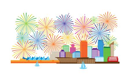 Vancouver British Columbia Canada City Skyline and fireworks display color Illustration Ilustração