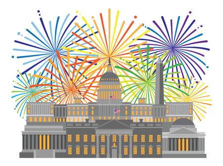 Fireworks over Washington DC Monuments Landmarks Capitol and Memorials Collage Isolated on White background Illustration