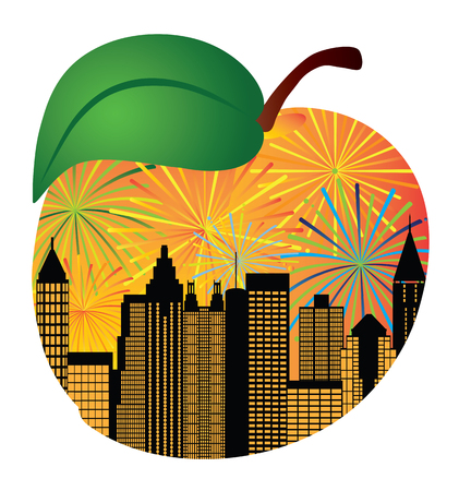 Atlanta Georgia City Skyline Night Sky Fireworks Silhouette Inside Peach Fruit Outline Illustration