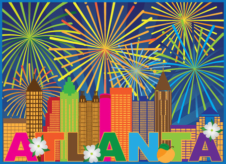 Atlanta Georgia City Skyline Abstract with Peach Dogwood Flowers Fireworks Display Colorful Text llustration Ilustração