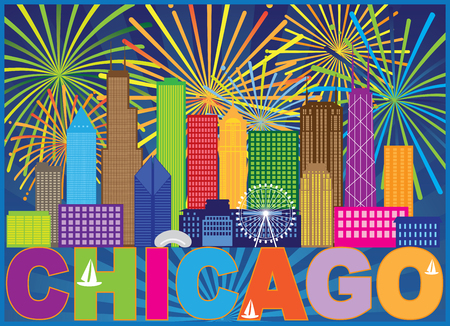 Chicago City Skyline Panorama Color Outline Silhouette Fireworks with Text Background Illustration