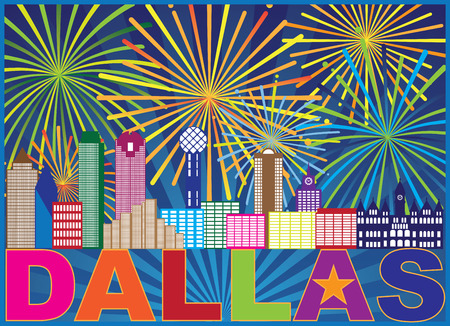 Dallas Texas City Skyline Outline Fireworks Display with Text and Lone Star Abstract Illustration