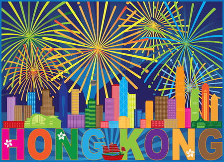 Hong Kong City Skyline Firework display Color Abstract Background Illustration