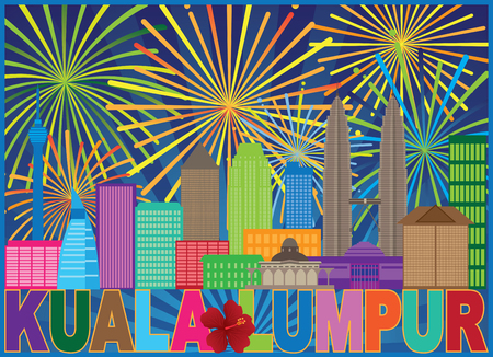 Kuala Lumpur Malaysia City Skyline Color Text State Flower Hisbicus Fireworks Display Background Illustration