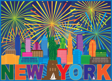 New York City Skyline with Statue of Liberty Fireworks and text color Outline Illustration Illustration